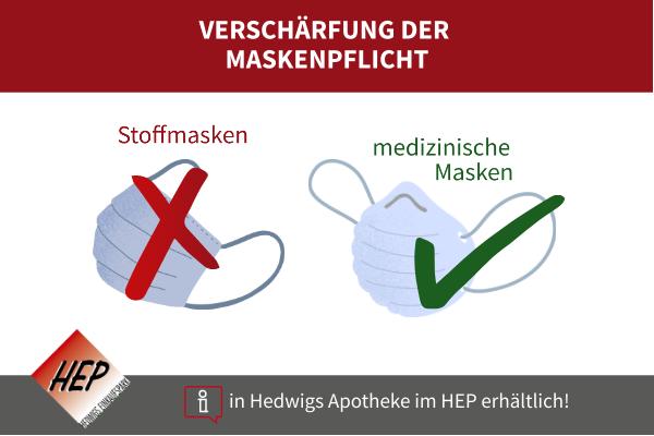 Stoffmasken nicht mehr genehmigt, medizinische Masken ab sofort Pflicht im öffentlichen Nahverkehr sowie beim Einkaufen